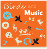 Birds and music silhouette icons sets. Note  birds sing song decor elements Royalty Free Stock Image