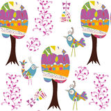 Birds nature  seamless pattern. It is located in swatch menu, ve. Birds nature  seamless pattern. It is located in swatch menu, . Cute picture with animals Stock Images