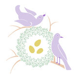 Birds Near Nest Royalty Free Stock Images