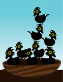 Birds in nest. Eight small birds in a nest in front of a blue sky vector illustration