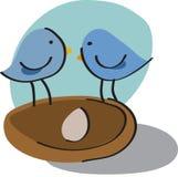 Birds in nest Stock Photo