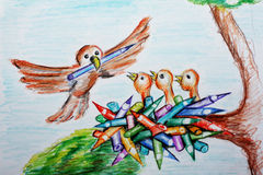Birds in the nest. Hand drawn coloured illustration of bird carrying a pencil and little birds waiting in the nest made of pencils. Theme for school kids Stock Photo