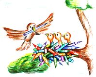 Birds in the nest. Hand drawn coloured illustration of bird carrying a pencil and little birds waiting in the nest made of pencils. Theme for school kids Royalty Free Stock Images
