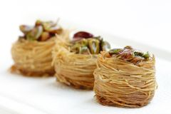 Birds nest baklava focus in front Stock Images
