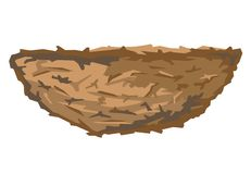 Birds Nest. One simple empty brown birds nest in profile, isolated vector illustration