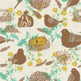 Birds and nests. seamless pattern Royalty Free Stock Photo