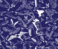 Birds night blue seamless pattern wallpaper Royalty Free Stock Images