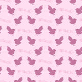 Birds and notes pattern Royalty Free Stock Images