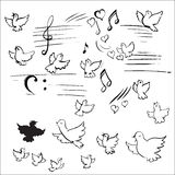 Birds and notes vector Royalty Free Stock Photo