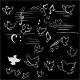 Birds and notes vectors Stock Image