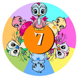 Number Seven for Children or Baby Cartoon stock illustration