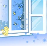 Birds and an open window in winter royalty free illustration