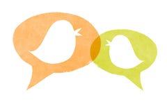 Birds Orange and Green Speech Bubbles Stock Photos