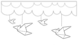 Birds origami fly in closed space. Vector Illustration Royalty Free Stock Images
