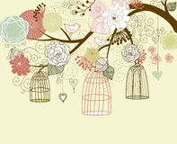Birds out of their cages royalty free illustration