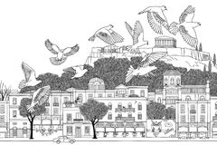 Birds over Athens. Hand drawn black and white illustration of the city with a flock of doves Royalty Free Stock Images