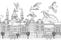 Birds over Budapest. Hand drawn black and white illustration of the city with a flock of pigeons Stock Image