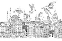 Birds over Istanbul. Hand drawn black and white illustration of the city with a flock of doves Royalty Free Stock Image