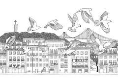 Birds over Lisbon. Hand drawn black and white illustration of the city with a flock of pigeons Royalty Free Stock Photos