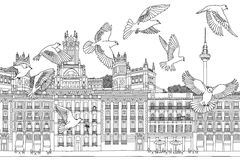 Birds over Madrid. Hand drawn black and white illustration of the city with a flock of pigeons stock illustration