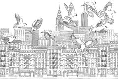 Birds over New York. New York City, USA - hand drawn black and white cityscape with birds Stock Photos