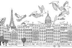 Birds over Rome. Rome, Italy - hand drawn black and white cityscape with birds Stock Photos