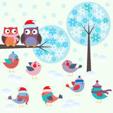 Birds and owls in winter forest. Vector set Stock Photos