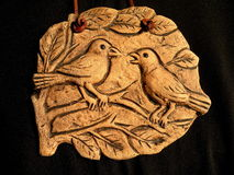 Birds painted on clay Royalty Free Stock Photo