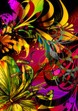 Birds paradise. Tropical scenic floral flying bird and exotic abstract floral and scroll vines Stock Image