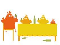 Birds' party. Funny drunk birds having a party royalty free illustration