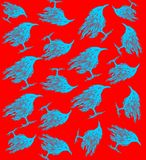 Birds pattern. Beautiful fluorescent pattern with ravens Stock Image