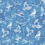 Birds pattern. Cute  seamless texture with small white birds and trees on blue background in hand drawn style. Stock Photography