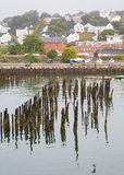 Birds on Pilings in Portland Harbor Royalty Free Stock Photo
