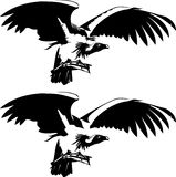 Birds of prey. Vector illustration of a bird of prey. Black and white Stock Photography