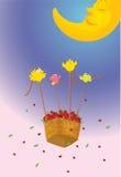 Birds pulling flowers Stock Photo