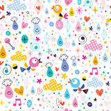 Birds rain drops hearts fun characters seamless pattern Royalty Free Stock Images