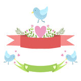 Birds, Ribbons And Hearts Vector Sticker, Template St. Valentines Day Message Element Missing Text With Cute Animal. Character. Cartoon Design Blank Note With Royalty Free Stock Images
