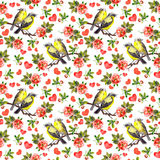 Birds, rose flowers and hearts. Seamless pattern, Watercolor Stock Images