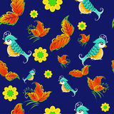 Birds on rowan pattern Stock Photography