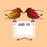 Birds with sample text. Greeting card with birds and frame for your text. Vector illustration Stock Image