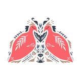 Birds in scandinavian style. Nordic folk ornament. Label, print. Vector illustration, clip art. Birds in scandinavian style. Nordic folk ornament. Pattern with royalty free illustration