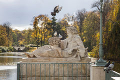 Birds and Sculpture, Autumn in Park, Warsaw, Poland Stock Photography