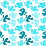 Birds seamless background peace doves. Seamless background with peace blue doves and white hearts vector illustration