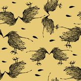 Birds seamless pattern. Seamless pattern with birds on a beige background. Vector illustration Royalty Free Stock Photos