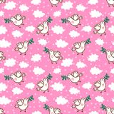 Birds with olive branch seamless pattern Royalty Free Stock Images