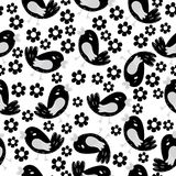 Birds. Seamless pattern with cute little birds and flowers.  Stock Photography