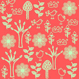 Birds seamless pattern and seamless pattern in swatch menu, vect Royalty Free Stock Photo