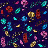 Birds seamless pattern and seamless pattern in swatch menu, vect Stock Photos