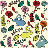 Birds seamless pattern and seamless pattern in swatch menu, vect Royalty Free Stock Photography