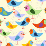 Birds seamless pattern. Vector background of lovely colored bird Stock Photography